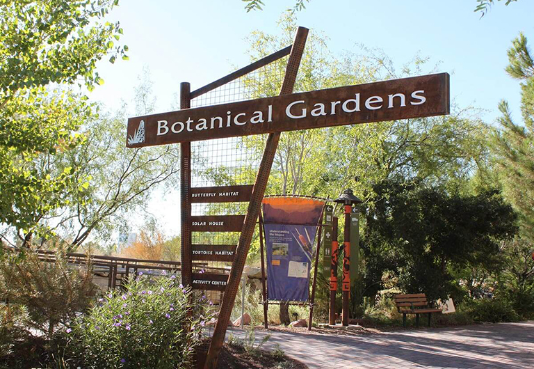 Botanical Gardens sign at the Springs Preserve venue.