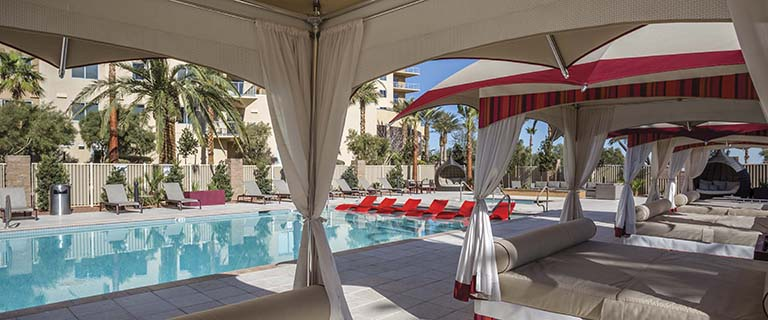 The pool and cabanas at One Las Vegas.
