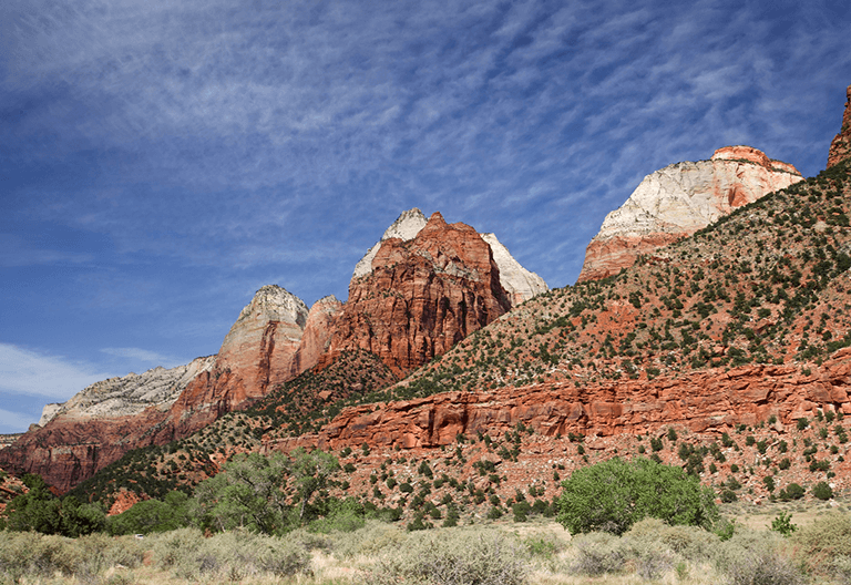 A shot of the sandstone cliffs at Zion National Park.