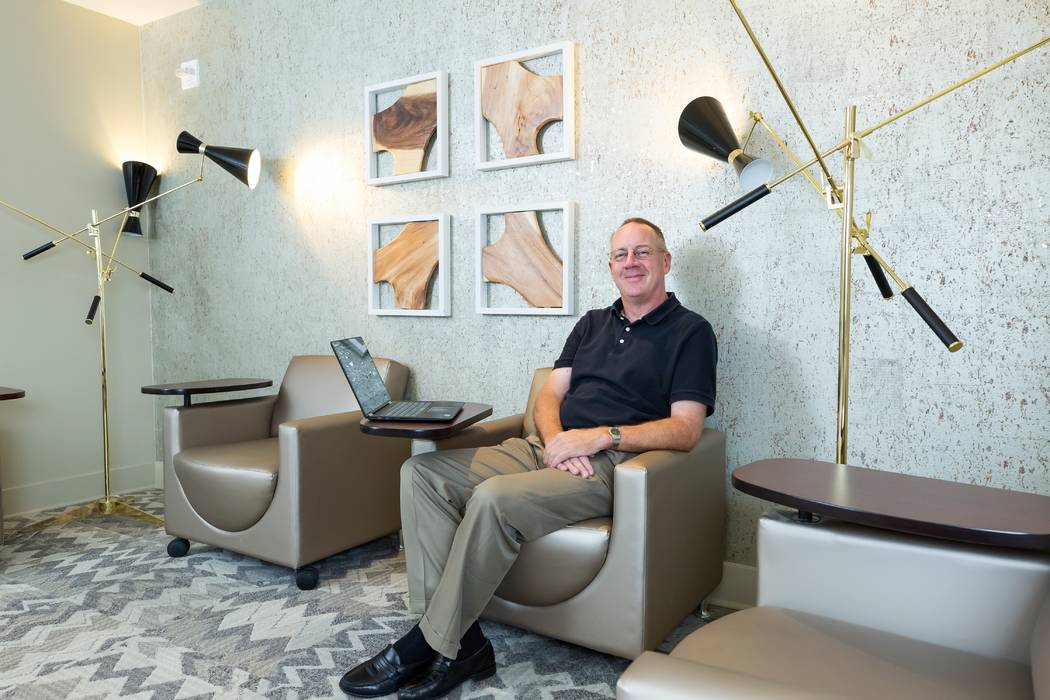 One Las Vegas resident Bob Croasdale enjoying the business center amenity at his Las Vegas home