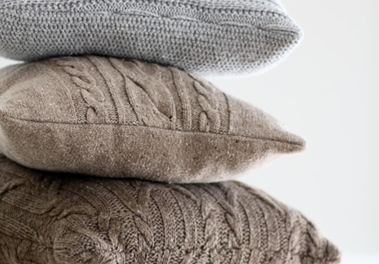 DIY sweater pillows with different textures