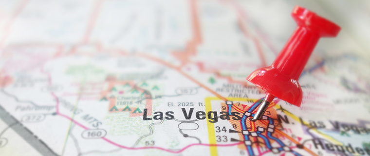 Las Vegas marked with a pin on the map.