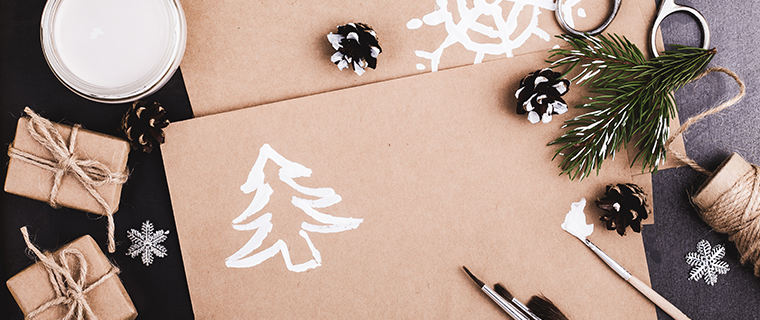 Blank craft paper and other supplies for holiday crafts.
