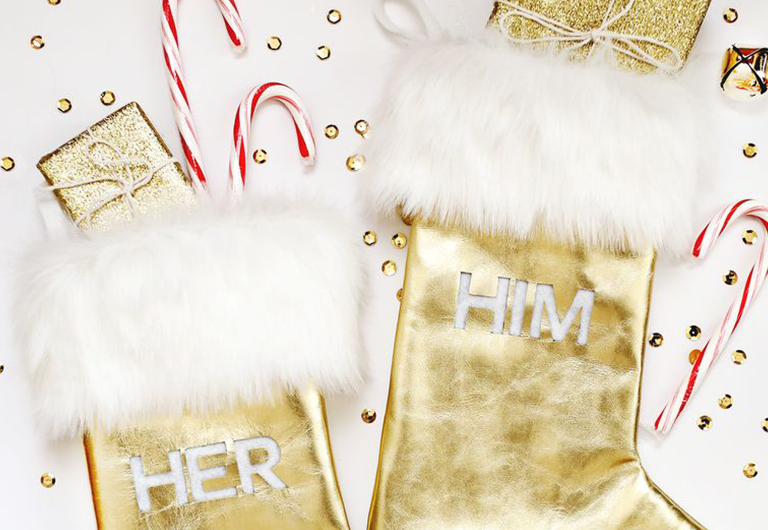 DIY holiday decorations, his and her gold stockings