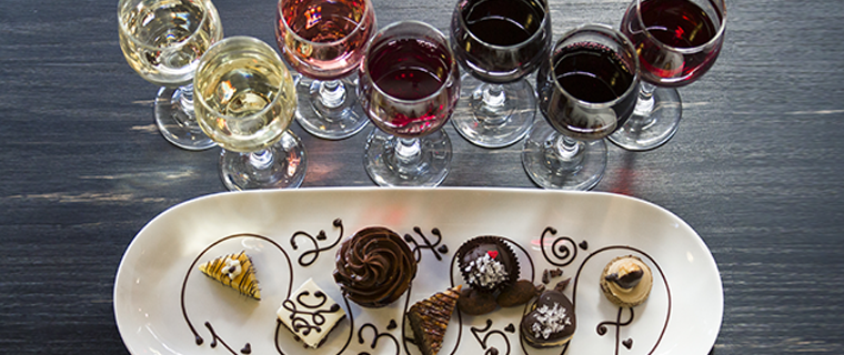 Wine and chocolate pairings on a table