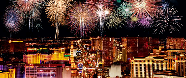 Iconic NYE fireworks over the Las Vegas Strip