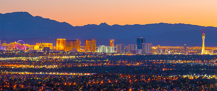 View of Las Vegas at a Distance During Sunset