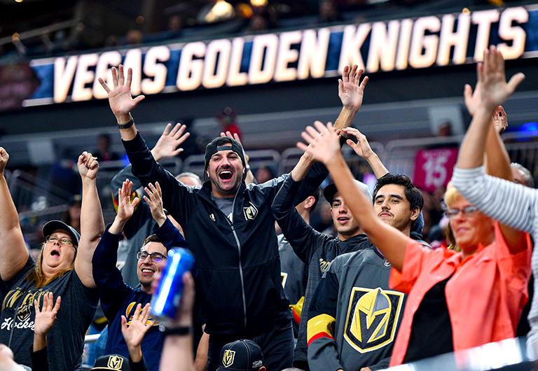 Las Vegas Golden Knights Fans Celebrating During Game