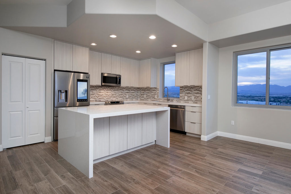 Penthouse kitchen at One Las Vegas with premium stainless steel appliances and modern design