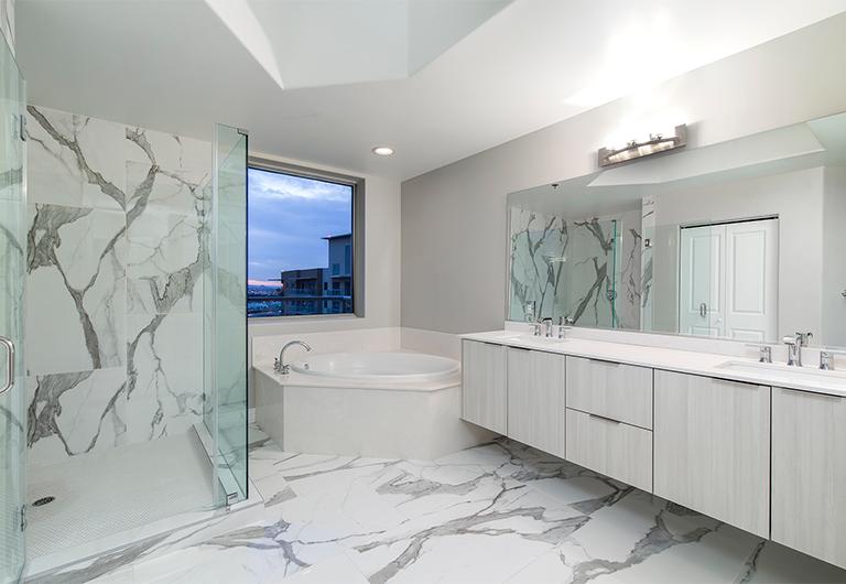 Master bathroom inside The Windermere Hills Penthouse at One Las Vegas